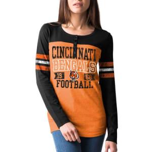 Cincinnati Bengals New Era Overtime Henley Tri-Blend Long Sleeve T-Shirt - Orange/Black