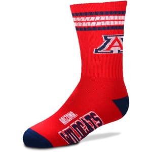 Arizona Wildcats For Bare Feet Youth 4-Stripe Deuce Quarter-Length Socks
