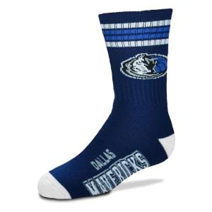 Dallas Mavericks For Bare Feet Youth 4-Stripe Deuce Quarter-Length Socks