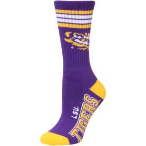 LSU Tigers For Bare Feet Women's Four Stripe Socks