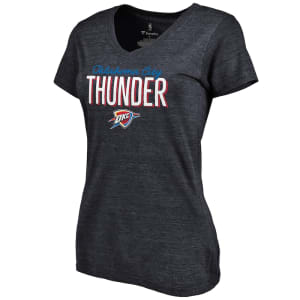 Oklahoma City Thunder Women's Nostalgia Tri-Blend V-Neck T-Shirt - Navy