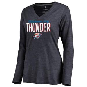Oklahoma City Thunder Women's Nostalgia Long Sleeve Tri-Blend V-Neck T-Shirt - Navy