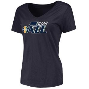 Utah Jazz Fanatics Branded Women's Primary Logo V-Neck T-Shirt - Navy