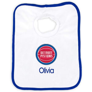 Detroit Pistons Newborn & Infant Personalized Bib - White