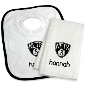 Brooklyn Nets Newborn & Infant Personalized Bib & Burp Cloth Set - White
