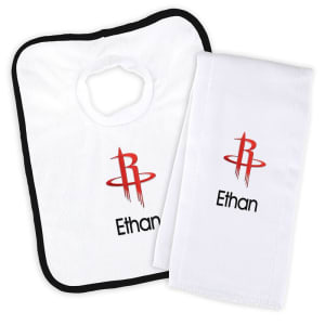 Houston Rockets Newborn & Infant Personalized Bib & Burp Cloth Set - White