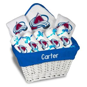 Colorado Avalanche Newborn & Infant Personalized Large Gift Basket - White