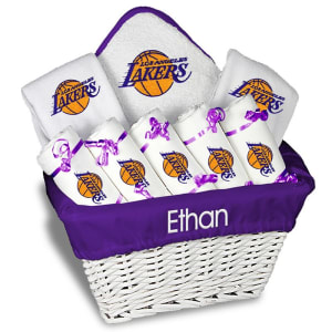Los Angeles Lakers Newborn & Infant Personalized Large Gift Basket - White