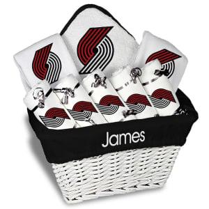 Portland Trail Blazers Newborn & Infant Personalized Large Gift Basket - White
