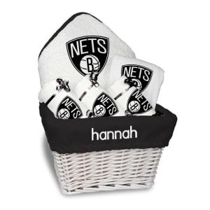 Brooklyn Nets Newborn & Infant Personalized Medium Gift Basket - White