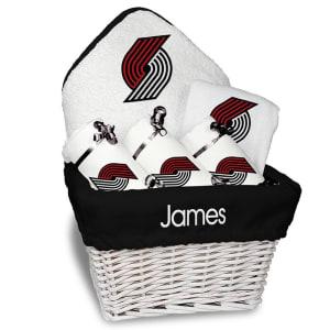 Portland Trail Blazers Newborn & Infant Personalized Medium Gift Basket - White