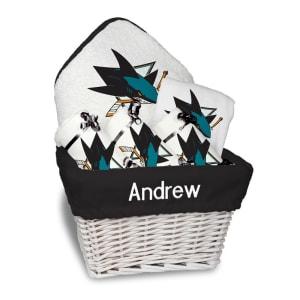 San Jose Sharks Newborn & Infant Personalized Medium Gift Basket - White