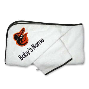 Baltimore Orioles Infant Personalized Hooded Towel & Mitt Set - White