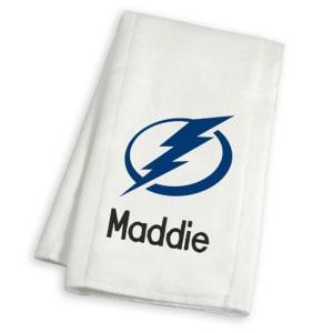 Tampa Bay Lightning Infant Personalized Burp Cloth - White