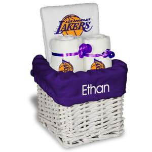 Los Angeles Lakers Personalized Small Gift Basket - White