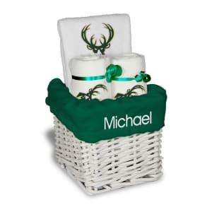 Milwaukee Bucks Personalized Small Gift Basket - White