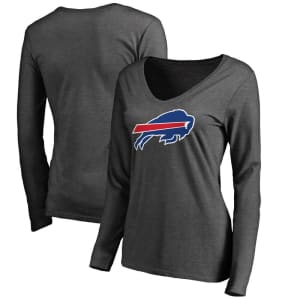 Buffalo Bills NFL Pro Line Women's Primary Logo Long Sleeve T-Shirt - Charcoal