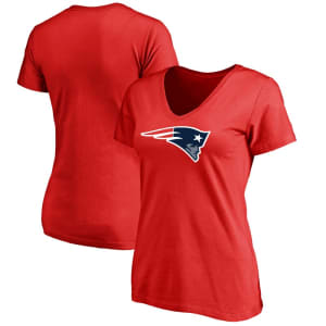 New England Patriots NFL Pro Line Women's Plus Size Primary Logo V-Neck T-Shirt - Red