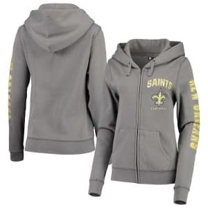 New Orleans Saints New Era Women's Playbook Glitter Sleeve Full-Zip Hoodie - Gray