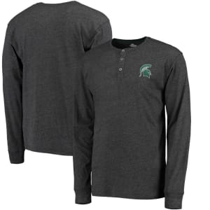 Michigan State Spartans Colosseum Fahrenheit Long Sleeve Henley T-Shirt - Heathered Black