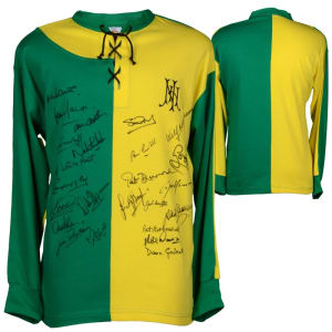 Newton Heath Manchester United Fanatics Authentic Autographed 1892 Green & Yellow Jersey with 24 Signatures - ICONS