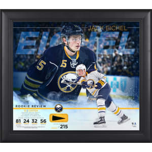 """Jack Eichel Buffalo Sabres Fanatics Authentic Framed 15"""" x 17"""" Rookie Review Collage with Piece of Game-Used Puck - Limited Edition of 215"""