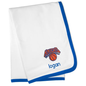 New York Knicks Personalized Baby Blanket - White
