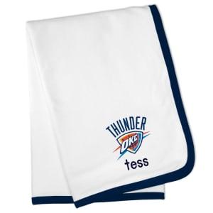 Oklahoma City Thunder Personalized Baby Blanket - White