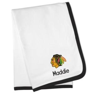 Chicago Blackhawks Personalized Baby Blanket - White
