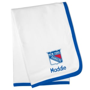 New York Rangers Personalized Baby Blanket - White