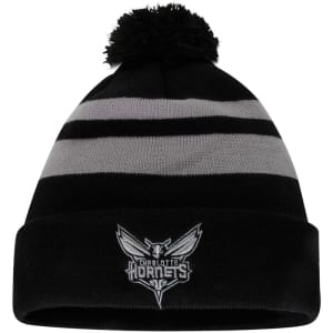 Charlotte Hornets New Era Double Stripe Cuffed Knit Hat with Pom - Black