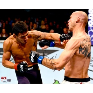 """Rafael Dos Anjos Ultimate Fighting Championship Fanatics Authentic Autographed 16"""" x 20"""" Punching Donald Cerrone Photograph"""