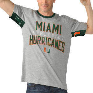 Miami Hurricanes Hands High Cut Back Fashion T-Shirt - Gray