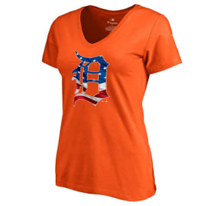 Detroit Tigers Fanatics Branded Women's 2019 Stars & Stripes Banner Wave V-Neck T-Shirt - Orange