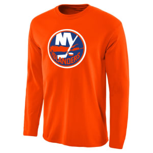 New York Islanders Team Primary Logo Long Sleeve T-Shirt - Orange