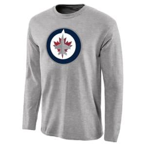 Winnipeg Jets Team Primary Logo Long Sleeve T-Shirt - Ash