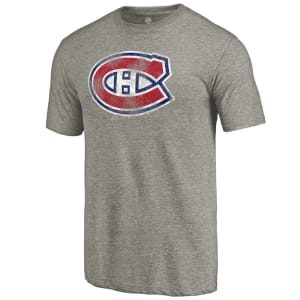 Montreal Canadiens Distressed Team Logo Tri-Blend T-Shirt - Ash
