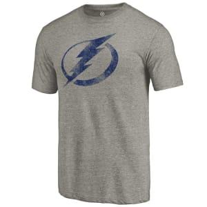Tampa Bay Lightning Distressed Team Logo Tri-Blend T-Shirt - Ash