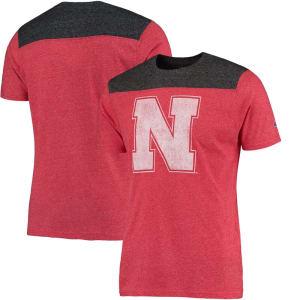 Nebraska Cornhuskers Champion Spike Color Block T-Shirt - Heathered Scarlet