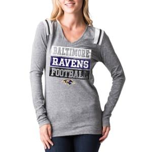 Baltimore Ravens 5th & Ocean by New Era Women's Block Letter Tri-Blend Long Sleeve V-Neck T-Shirt - Heathered Gray
