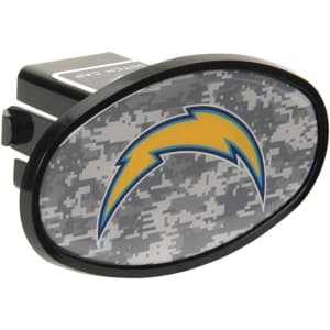"""Los Angeles Chargers Plastic Oval Fixed 2"""" Digi Camo Hitch Receiver"""