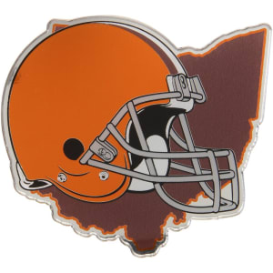 Cleveland Browns State Shape Acrylic Metallic Auto Emblem