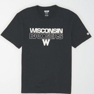 Tailgate Men's Wisconsin Badgers Reflective Graphic T-Shirt Storm Dark XXL