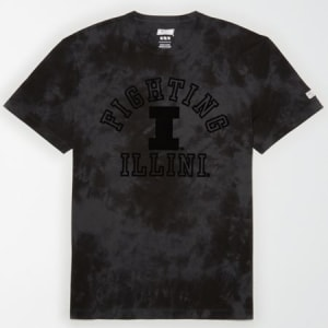 Tailgate Men's Illinois Fighting Illini Tonal Dye T-Shirt Bold Black L