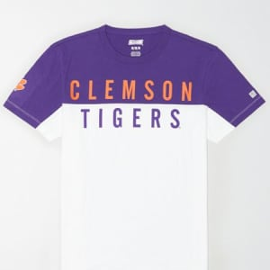 Tailgate Men's Clemson Tigers Colorblock T-Shirt White XS