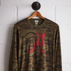 Tailgate Men's Alabama Camo Long Sleeve Tee Olive XS
