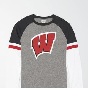 Tailgate Men's Wisconsin Badgers Baseball Shirt Gray Heather S