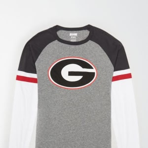 Tailgate Men's Georgia Bulldogs Baseball Shirt Gray Heather M