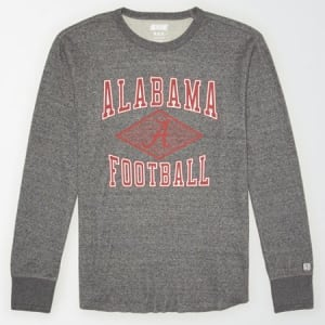 Tailgate Men's Alabama Crimson Tide Thermal Shirt Salt And Pepper XS