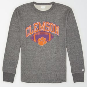 Tailgate Men's Clemson Tigers Thermal Shirt Salt And Pepper S